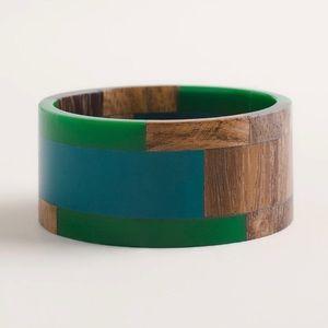 Chico's Blue Green Wood Cuff Bracelet